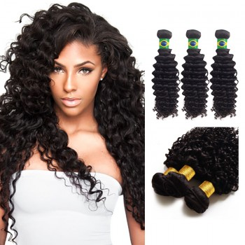16 Inches*3 Deep Curly Natural Black Virgin Brazilian Hair