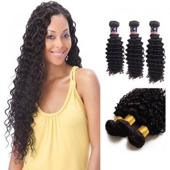 18/20/22 Inches Deep Curly Natural Black Virgin Malaysian Hair