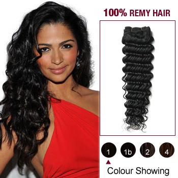 "14"" Jet Black(#1) Deep Wave Indian Remy Hair Wefts"