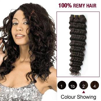 "14"" Dark Brown(#2) Deep Wave Indian Remy Hair Wefts"
