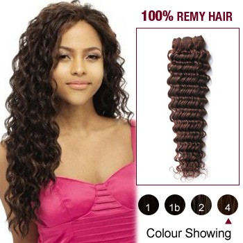 "12"" Medium Brown(#4) Deep Wave Indian Remy Hair Wefts"