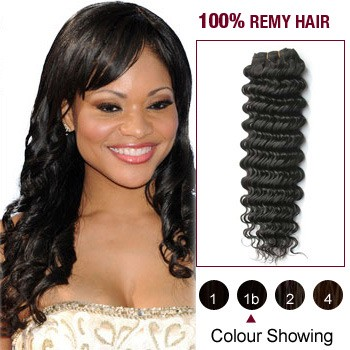 """12"""" Natural Black(#1b) Deep Wave Indian Remy Hair Wefts"""