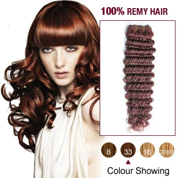 "10"" Dark Auburn(#33) Deep Wave Indian Remy Hair Wefts"