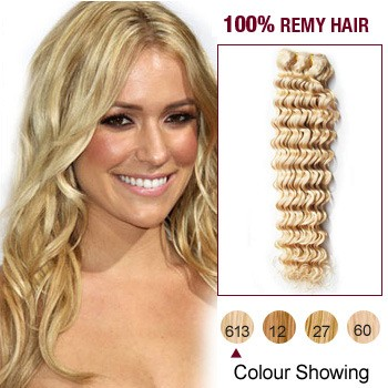 "18"" Bleach Blonde(#613) Deep Wave Indian Remy Hair Wefts"
