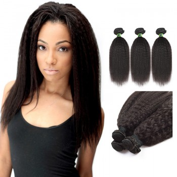14 Inches*3 Kinky Straight Natural Black Virgin Brazilian Hair
