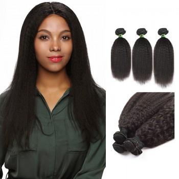 18/20/22 Inches Kinky Straight Natural Black Virgin Brazilian Hair