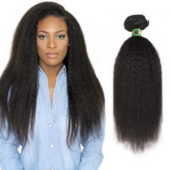 24 Inches Kinky Straight Natural Black Virgin Brazilian Hair