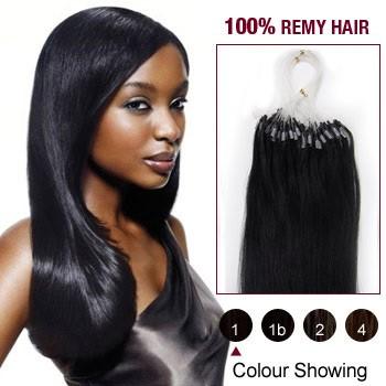 "18"" Jet Black(#1) 100S Micro Loop Remy Human Hair Extensions"
