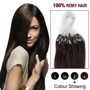 """22"""" Dark Brown(#2) 100S Micro Loop Remy Human Hair Extensions"""