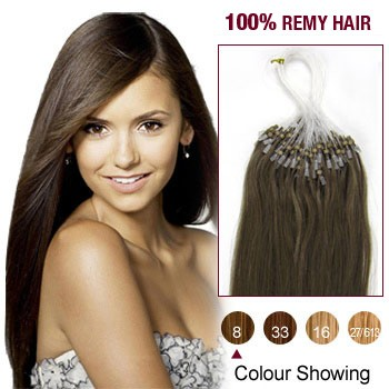 "22"" Ash Brown(#8) 100S Micro Loop Remy Human Hair Extensions"