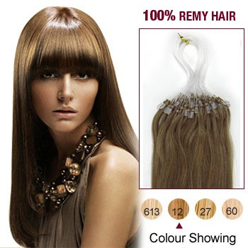"18"" Golden Brown(#12) 100S Micro Loop Remy Human Hair Extensions"