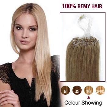 """22"""" Golden Blonde(#16) 100S Micro Loop Remy Human Hair Extensions"""