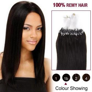 "22"" Natural Black(#1b) 100S Micro Loop Remy Human Hair Extensions"