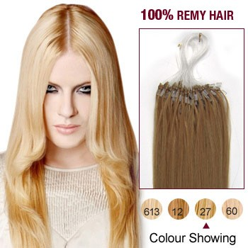 """22"""" Strawberry Blonde(#27) 100S Micro Loop Remy Human Hair Extensions"""