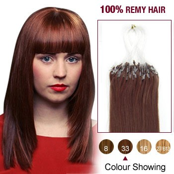 """18"""" Dark Auburn(#33) 100S Micro Loop Remy Human Hair Extensions"""