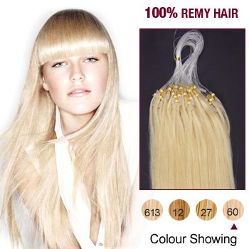 "18"" White Blonde(#60) 100S Micro Loop Remy Human Hair Extensions"