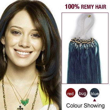 """18"""" Blue 100S Micro Loop Remy Human Hair Extensions"""