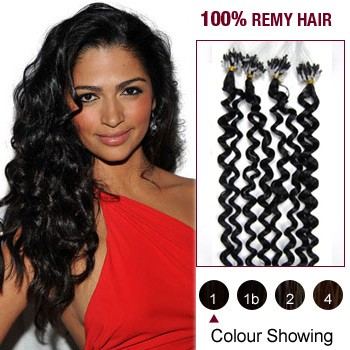 "20"" Jet Black(#1) 100S Curly Micro Loop Remy Human Hair Extensions"