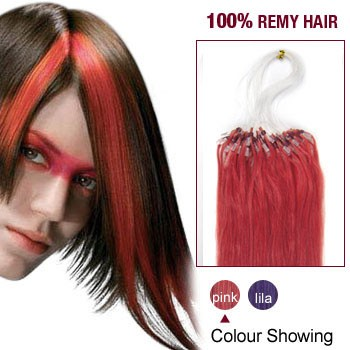 """18"""" Pink 100S Micro Loop Remy Human Hair Extensions"""
