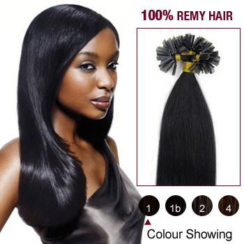 "16"" Jet Black(#1) 100S Nail Tip Remy Human Hair Extensions"
