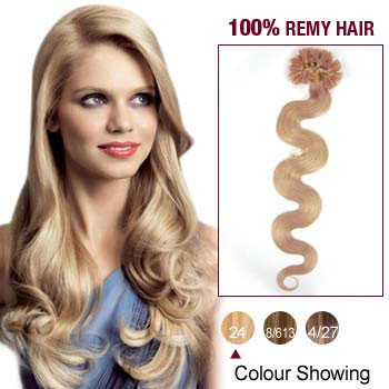 "20"" Ash Blonde(#24) 100S Wavy Nail Tip Remy Human Hair Extensions"