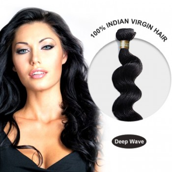 16 Inches Deep Wave Indian Virgin Hair Wefts
