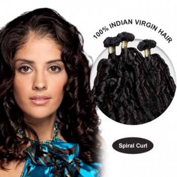 28 Inches Spiral Curl Indian Virgin Hair Wefts