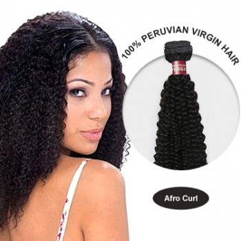 26 Inches Afro Curl Peruvian Virgin Hair Wefts
