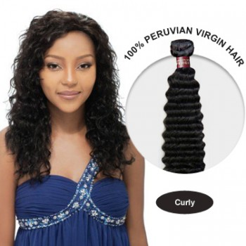 26 Inches Curly Peruvian Virgin Hair Wefts