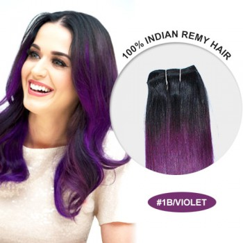 """14"""" #1B/Violet Ombre Straight 100% Remy Human Hair"""