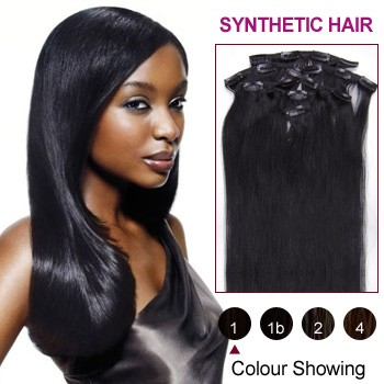 "16"" Jet Black(#1) 7pcs Clip In Synthetic Hair Extensions"