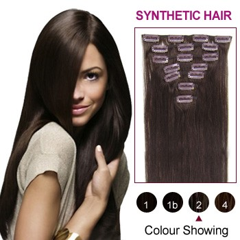 "18"" Dark Brown(#2) 7pcs Clip In Synthetic Hair Extensions"