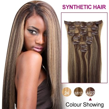 """20"""" Brown/Blonde(#4/27) 7pcs Clip In Synthetic Hair Extensions"""