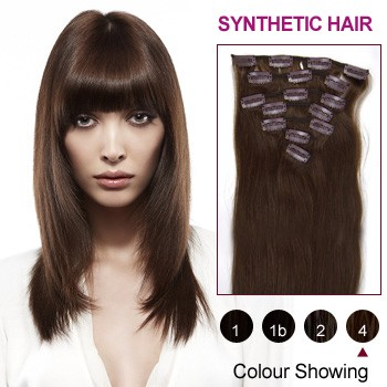 "18"" Medium Brown(#4) 7pcs Clip In Synthetic Hair Extensions"