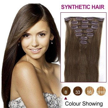 "22"" Ash Brown(#8) 7pcs Clip In Synthetic Hair Extensions"