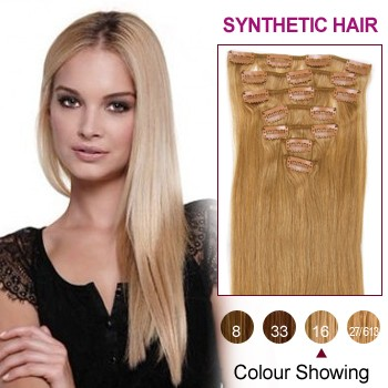 "18"" Golden Blonde(#16) 7pcs Clip In Synthetic Hair Extensions"