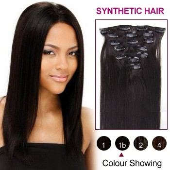 "18"" Natural Black(#1b) 7pcs Clip In Synthetic Hair Extensions"
