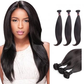 26 Inches*3 Straight Natural Black Virgin Malaysian Hair