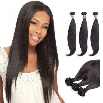 16 Inches*3 Straight Natural Black Virgin Peruvian Hair