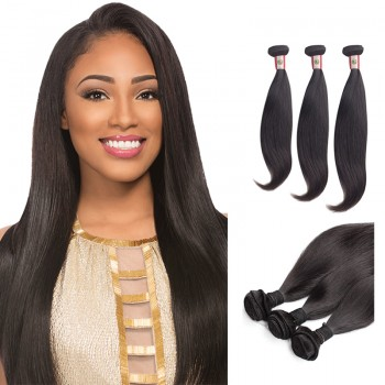 14/16/18 Inches Straight Natural Black Virgin Peruvian Hair