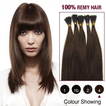 "16"" Medium Brown(#4) 100S Stick Tip Remy Human Hair Extensions"