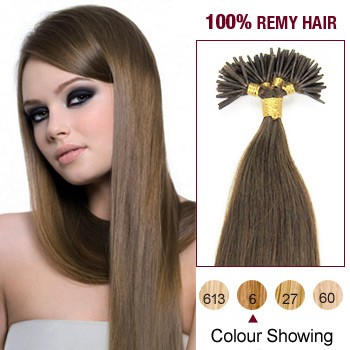 "16"" Light Brown(#6) 100S Stick Tip Human Hair Extensions"