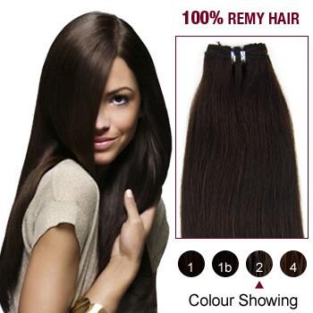 """16"""" Dark Brown(#2) Light Yaki Indian Remy Hair Wefts"""