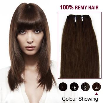 "16"" Medium Brown(#4) Light Yaki Indian Remy Hair Wefts"