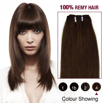 "12"" Medium Brown(#4) Light Yaki Indian Remy Hair Wefts"