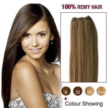 """16"""" Ash Brown(#8) Light Yaki Indian Remy Hair Wefts"""