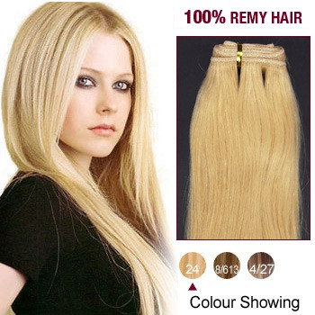 """14"""" Ash Blonde(#24) Straight Indian Remy Hair Wefts"""