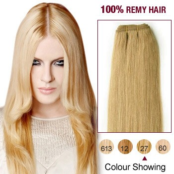 """10"""" Strawberry Blonde(#27) Light Yaki Indian Remy Hair Wefts"""