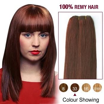 "12"" Dark Auburn(#33) Light Yaki Indian Remy Hair Wefts"