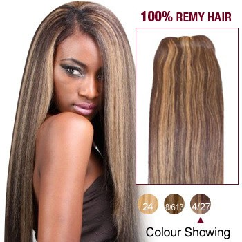 """16"""" Brown/Blonde(#4/27) Light Yaki Indian Remy Hair Wefts"""